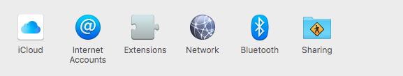 Screenshot of selections, choose network