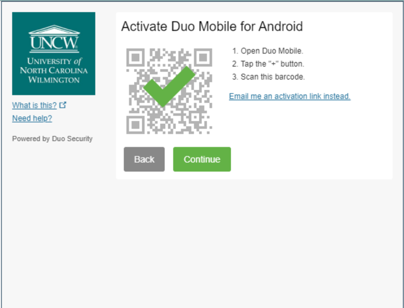 An example of the on-screen instructions for activating Duo Mobile using the QR code.
