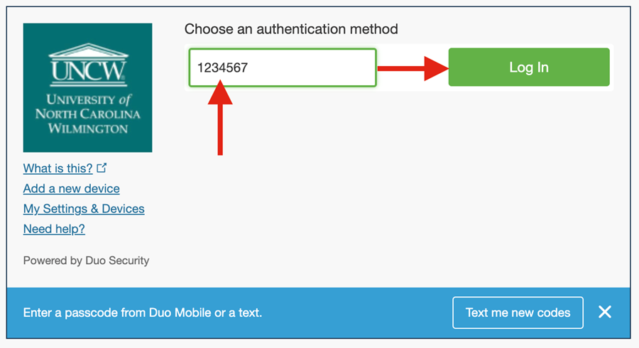 """Duo authentication screen indicating the passcode text box and then select """"login."""""""