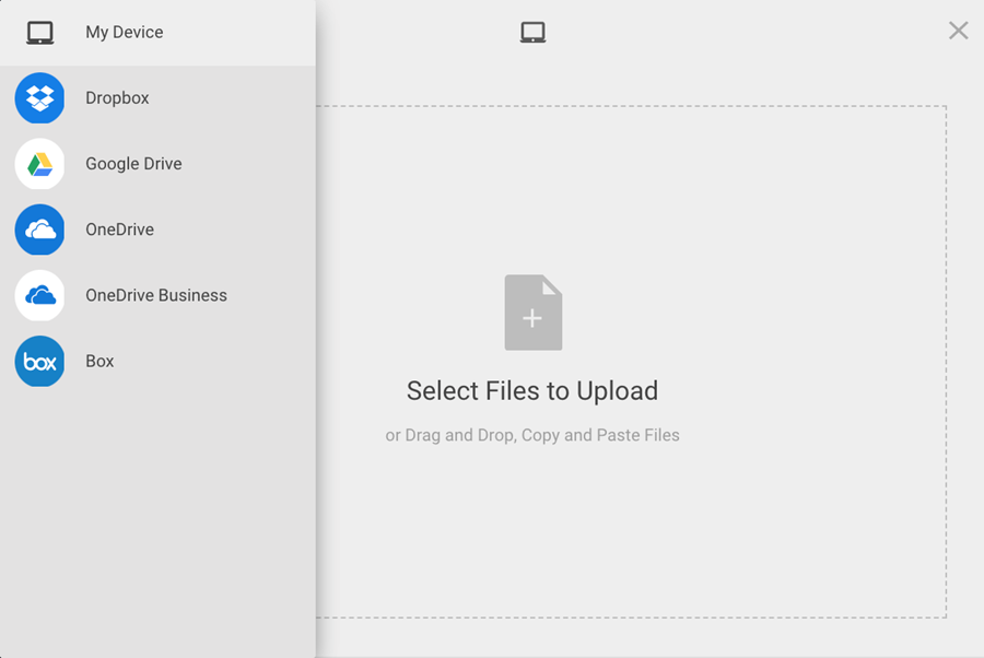 Echo360 upload options: My Device, Dropbox, Google Drive, OneDrive, OneDrive Business, Box