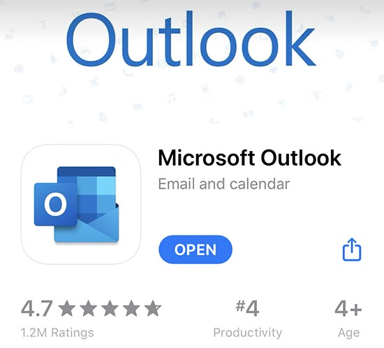 Outlook Microsoft Mobile App Download for Apple App Store