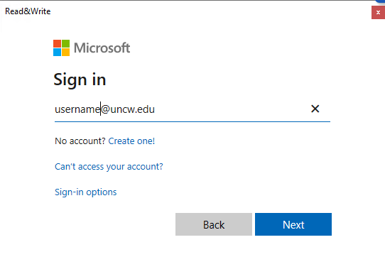 Microsoft360 Sign in window. Please sign in with UNCW email address.