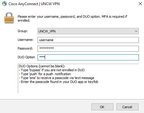 Cisco AnyConnect login screen showing username, password, and DUO options. SMS is typed in and appears as asterisks.