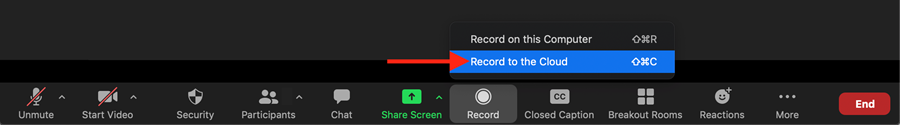 "Zoom bottom toolbar, showing the two options for ""record."" There is an arrow highlighting the ""recording to the cloud"" option."