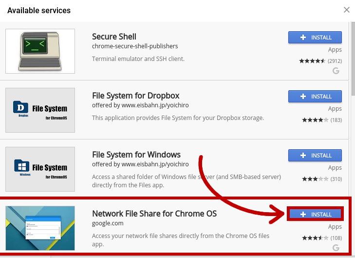 Menu of available services in the Chrome OS