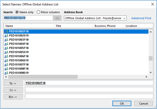 """Screen capture of the double click in the search field moving the distrobution list to the """"To"""" field."""