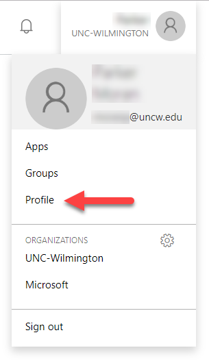 view of the profile selection under your account