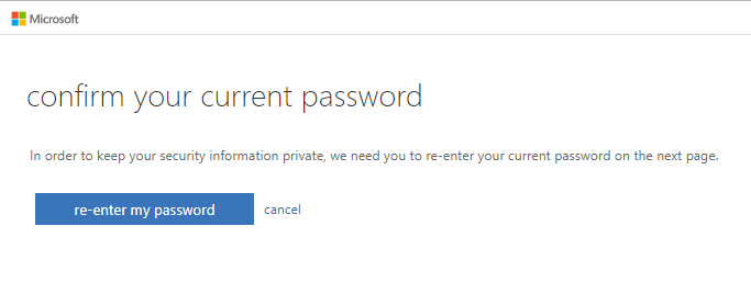 confirm your current password screenshot