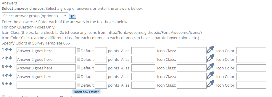 answer group or custom response