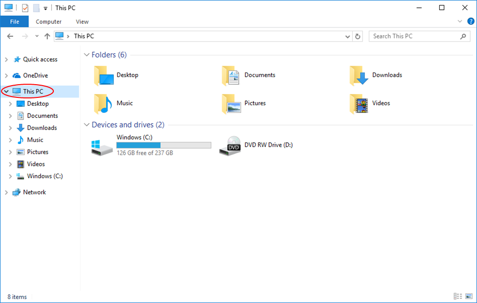 Click on This PC or Computer in the File Explorer