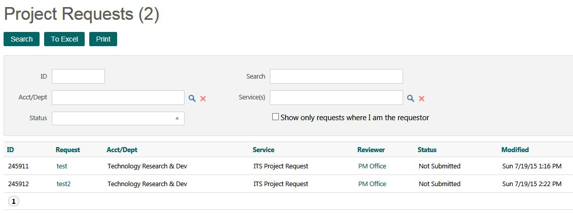 Project requests page in TeamDynamix
