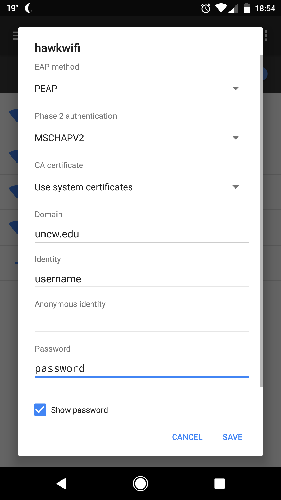 Screenshot of the Android Wifi settings page.