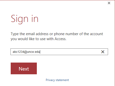 """A Microsoft Application opened in Horizon at the """"sign in"""" to your account stage in the process."""