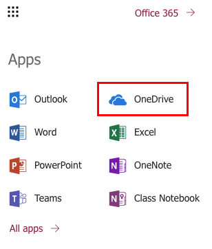 View of the Apps menu in OWA, with the OneDrive link highlighted.