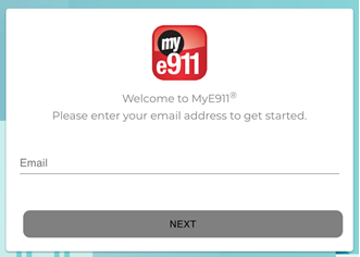 This is the MyE911 welcome page where your UNCW email address should be enterd.