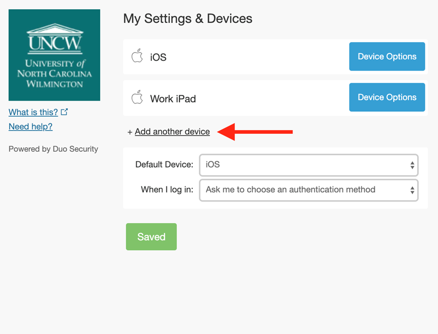 """On-screen example showing the option to """"add another device."""""""