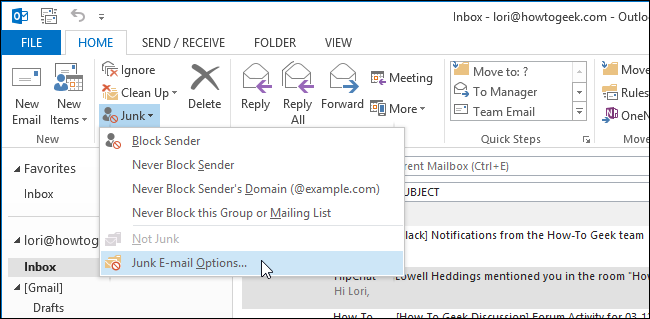 Junk mail options