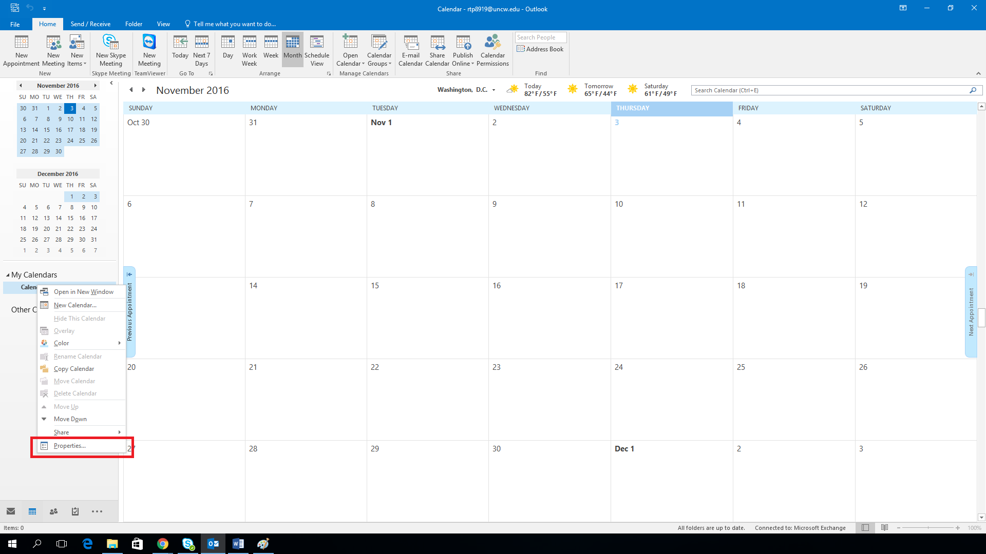 "Screen shot of an Outlook calendar, with the ""Properties"" option highlighted in the right-click menu."