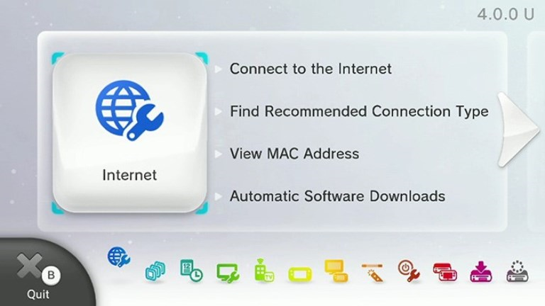 Wii U internet Menu