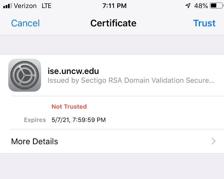 certificate is ise.uncw.edu