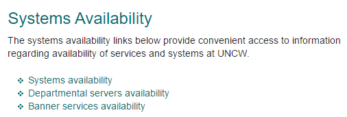 Screenshot of the Systems availability page.