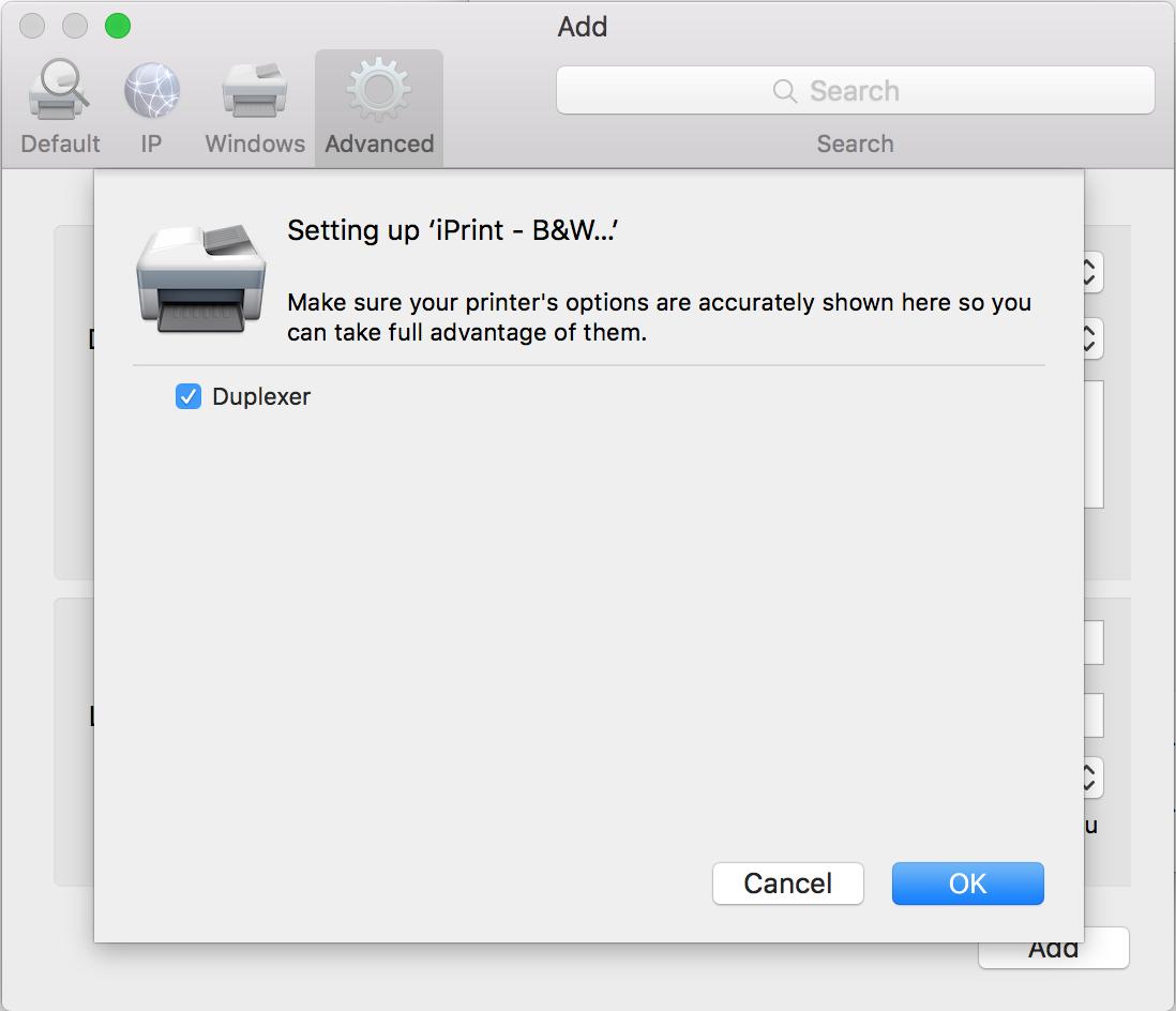 "Add printer screen, check the ""Duplexer"" box, and click ""OK"" to finish the process."