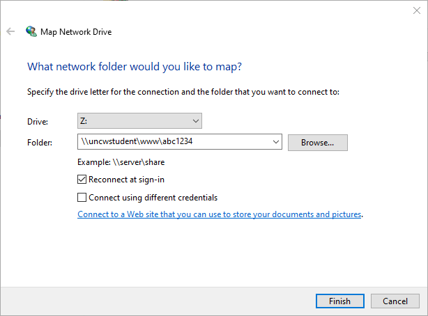 Map Network Drive Window showing the example, \\uncwstudent\www\abc123