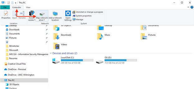 """File Explorer window, showing the location of the """"computer"""" tab and """"map network drive"""" button."""