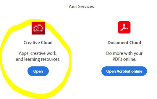 Image of Creative Cloud circled where the Open button resides