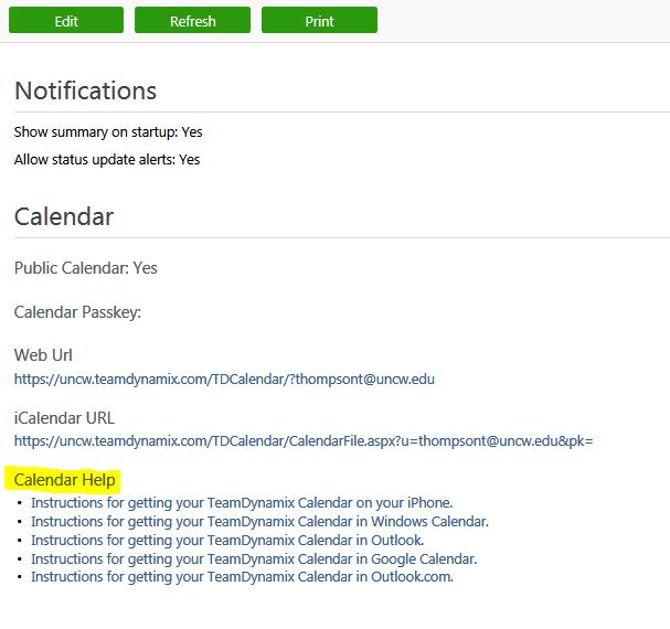 Calendar Help Window showing where appropriate link is located.