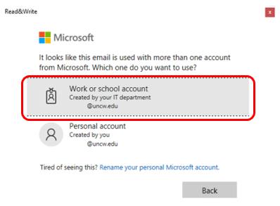 "Microsoft Sign in window highlighting ""Work or School Account"""