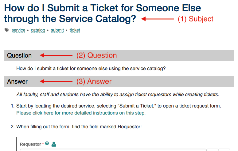 "Showing the Subject as ""How do I Submit a Ticket for Someone Else through the Service Catalog"" the Question section, and lastly the Answer section."