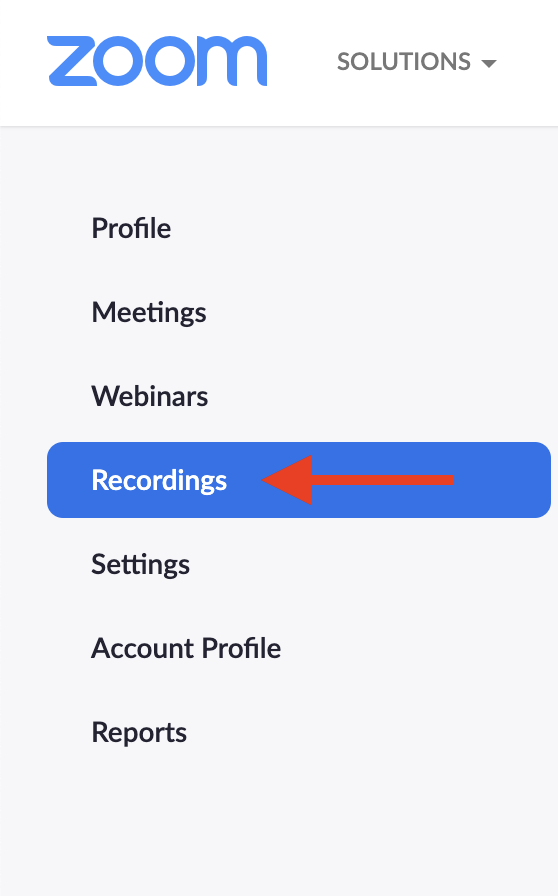 "Zoom left-hand menu highlighting the ""recordings"" option with a red arrow."