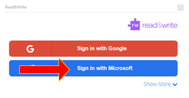 read&write Microsoft Sign in Option highlighted.