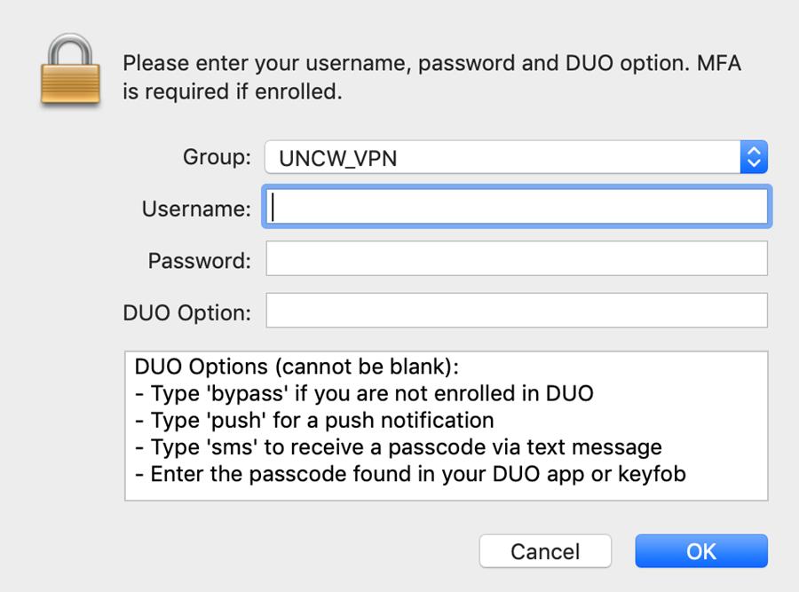 VPN login window showing username, password, and DUO password fields. With DUO options below.