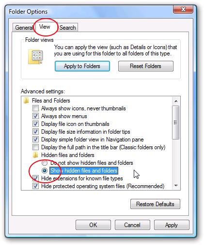 screenshot of the view menu