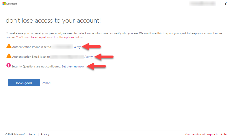 don't lose access to your account screenshot