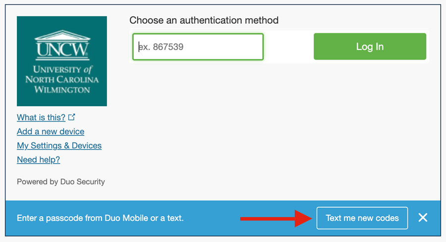 """Duo authentication method showing blue bar at the bottom with a button that the user needs to click """"Text me new codes."""""""