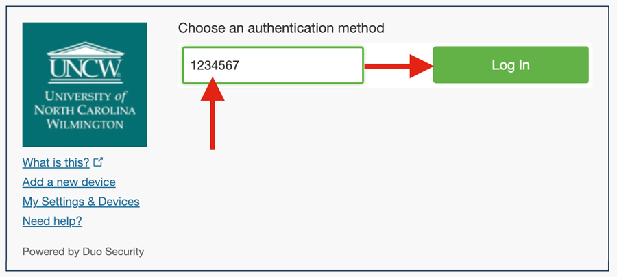 """Duo authentication screen indicating that the user input the passcode from the keyfob and then select """"Log In."""""""