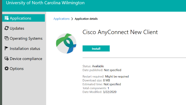 Screenshot of the install button for the Cisco AnyConnect New Client