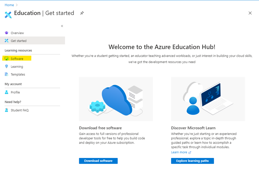 Finding Software in Azure for Education.