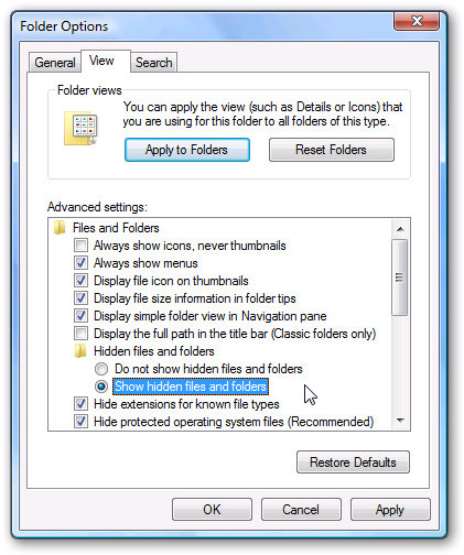 Screenshot of the Folder Options in windows 7