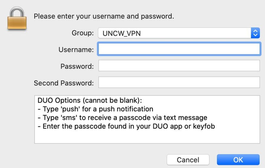 Initial VPN login window showing username, password, and DUO password fields. With DUO options below.