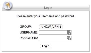 Screenshot of the Cisco AnyConnect Login window