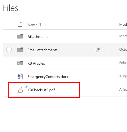 The Files screen in OneDrive