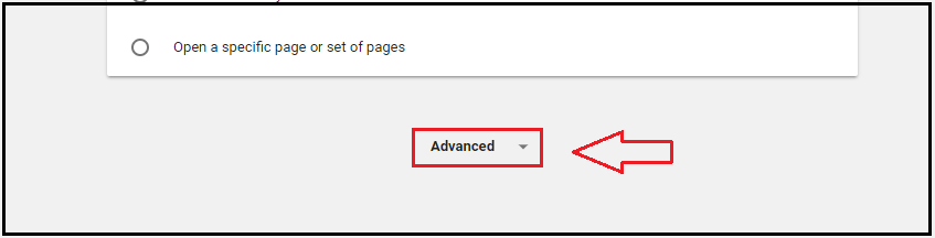 Advanced button in Google Chrome.